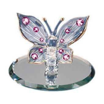 Glass Pink Crystals Butterfly