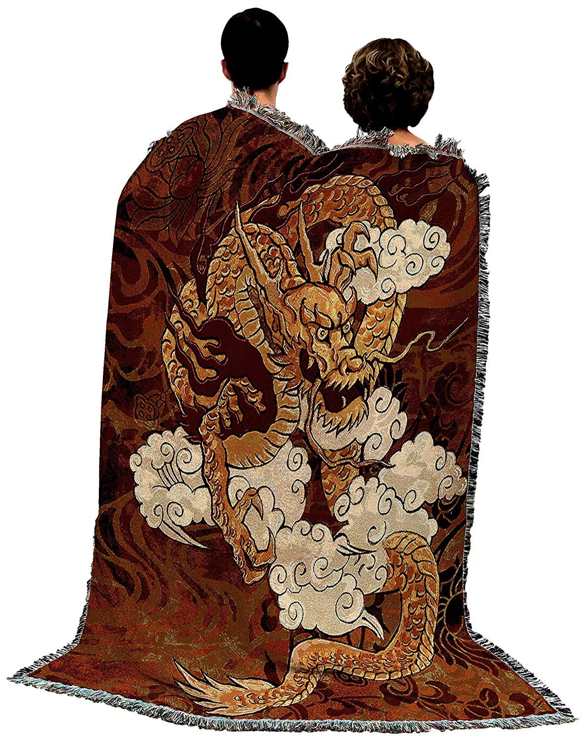 Birds Tapestry Throw Floral Throw Blanket Red Chinoiserie Throw Blanket