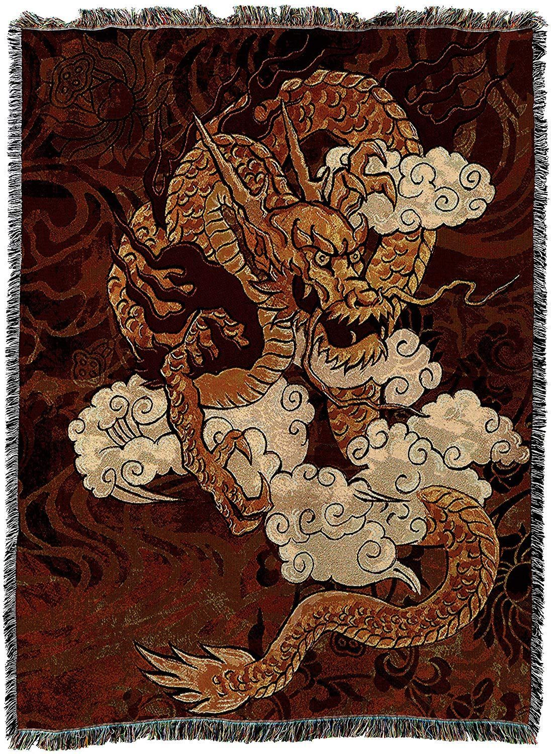 Golden Chinese Dragon Tapestry Blanket Dragon Gifts