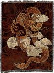 Golden Chinese Dragon Tapestry Blanket