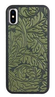 Green Acanthus Leaf Leather iPhone Case