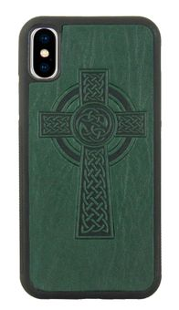 Green Celtic Cross Leather iPhone Case