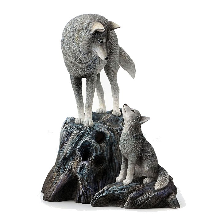 White Wolf Statue Sculpture Collectable Wolves Figurines Ornament Gift