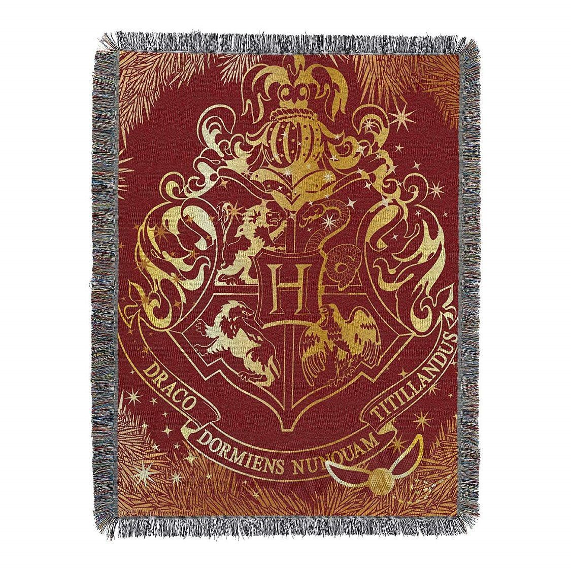 hogwarts yule tapestry throw blanket harry potter gifts. Black Bedroom Furniture Sets. Home Design Ideas