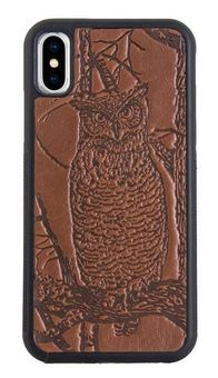 Brown Horned Owl Leather iPhone Case