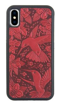 Red Hummingbird Leather iPhone Case