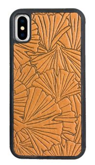 Marigold Ginkgo Leaves Leather iPhone Case