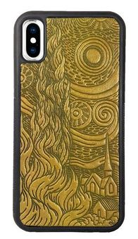 Marigold Van Gogh's Sky Leather iPhone Case
