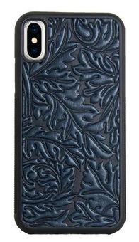 Navy Acanthus Leaf Leather iPhone Case