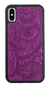 Orchid Paisley Leather iPhone Case