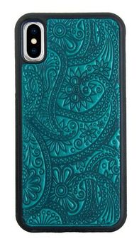 Teal Paisley Leather iPhone Case