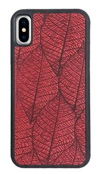 Red Fallen Leaves Leather iPhone Case