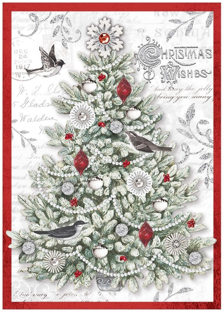 Glitter Christmas Cards.Silver Glitter Tree Christmas Cards