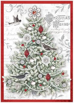 Silver Glitter Tree Christmas Cards