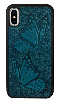 Sky Blue Butterfly  Leather iPhone Case