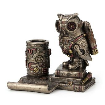 Steampunk Owl Cell & Pen Holder