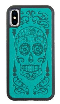 Teal Sugar Skull Leather iPhone Case