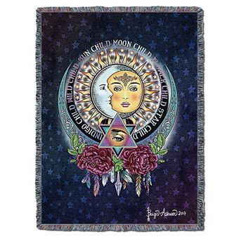 Sun and Moon Woven Tapestry Blanket