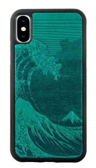 Teal Hokusai Wave Leather iPhone Case