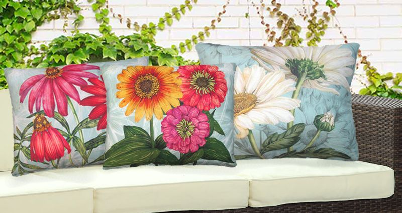 Outdoor throw pillows, outdoor cushions