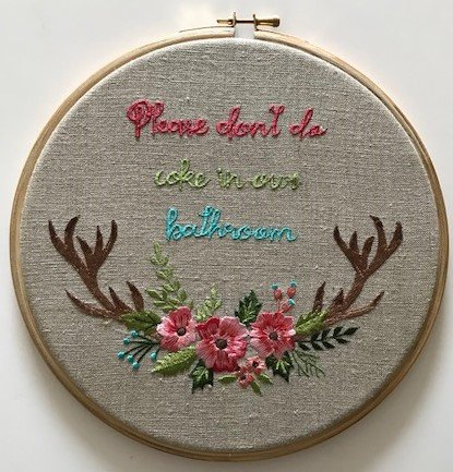 "EMB10 Cheeky Embroidered Linen In 10"" Hoop-""Please Don't Do Coke In Our Bathroom"""