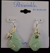 Earrings- Sea glass & wire