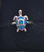 Sterling Silver Ring with Opal Turtle
