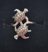 Sterling Silver Ring with two turtles