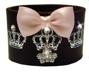 Deluxe Leather Cuff with Crystal Tiara & Bow