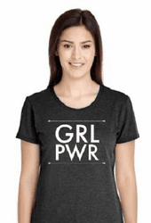 GRL PWR (ink) T Shirt (Dark Heather Gray)