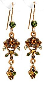Topaz and Olive Austrian Crystal Earrings
