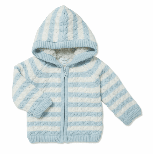 Angel Dear Blue and White Sherpa Zip Hoodie. So soft and cuddly.