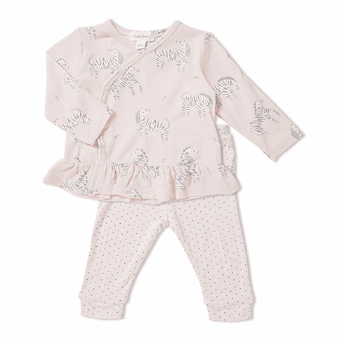 Angel Dear Pink Zebra Print Two Piece Set made of Bamboo. Very soft and cuddly.