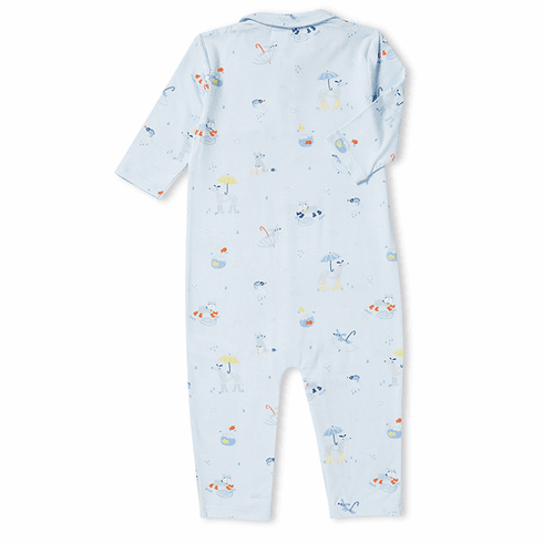 Angel Dear Rainy Day Polo Romper made of Bamboo. Very soft and cuddly.