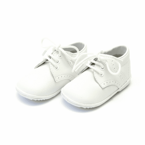Angel White Solid Leather Lace Up Shoe