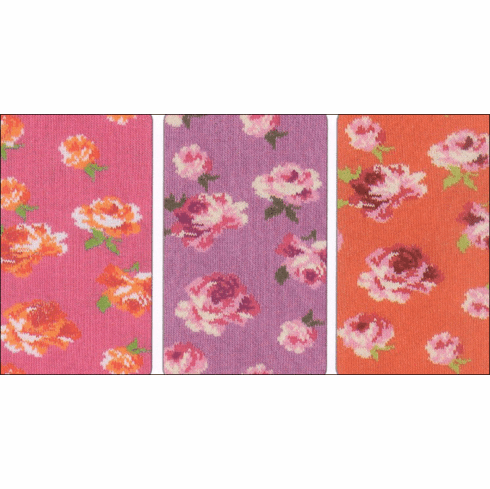 Country Kids Rosy mostly cotton tights with a rose print. Comes in hot pink,purple and orange. So cute and comfortable. Great quality.