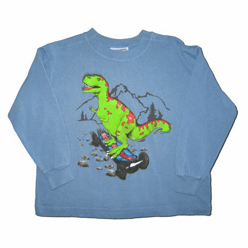 Flapdoodles Blue shirt with dino on it.