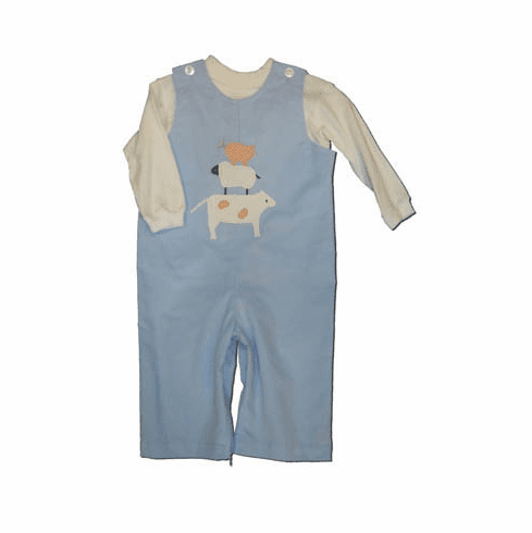 Funtasia Too Baby Blues blue longalls with three animals stacked on the front and NO white turtleneck.  Great for school and play.