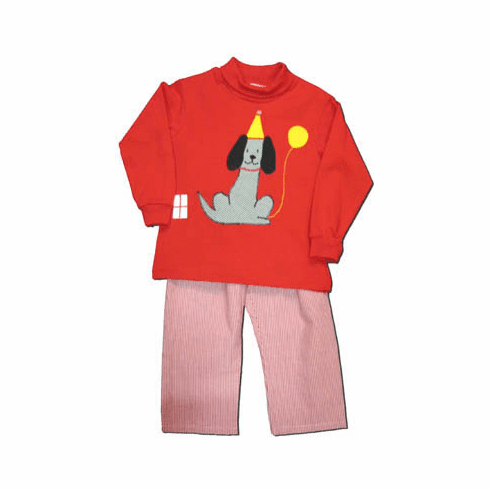 Funtasia Too boys clothes Party red turtleneck with a party dog on the front and matching red checked pants. Very cute and looks good with the Wish Upon a Cupcake in the girls section.
