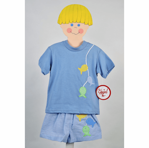 Funtasia Too Fish on Soft Blue Knit Shirt and Matching Swim Trunks.