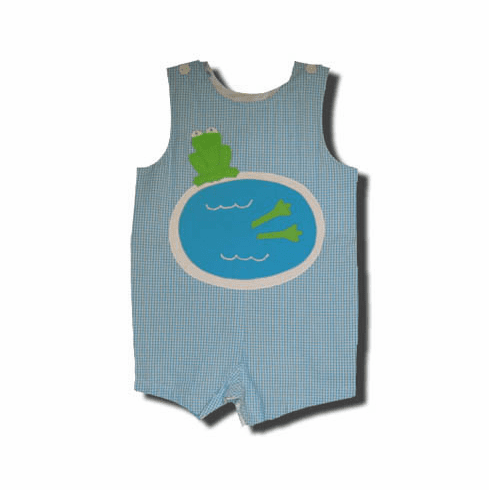 Funtasia Too Frog Dive frog in pool shortall that is adorable for the warm weather.