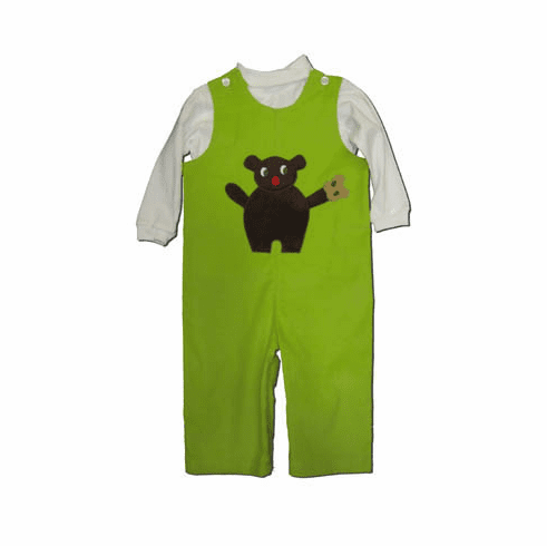Funtasia Too Handsome Lil Teddy green corduroy longall set with a teddy bear on the front. Adorable and perfect for your little cuddly one. Matches the girls.