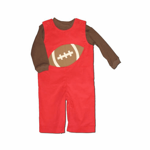 Funtasia Too Touchdown red longalls with a football on the front and a brown turtleneck.  Great for your little quarterback.