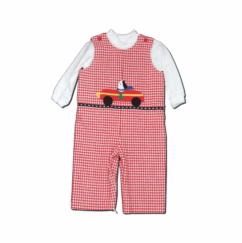 Funtasia Too Winning Racecar soft red check flannel longall set with racecar motif and a soft white turtleneck.