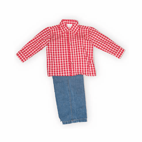 Good Lad Grandpa's Favorite boys toddler red check button down collared shirt with denim pants with elastic. So adorable.