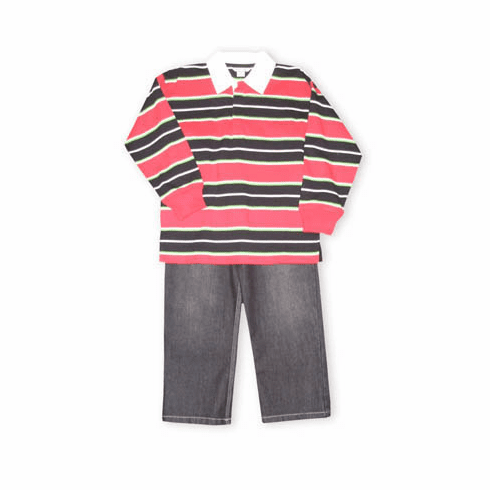Hartstrings Holiday Cheer striped rugby shirt with black denim pants. Very good looking.