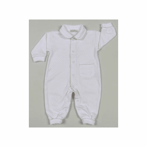 Kissy Kissy Baby Dots infant clothes one piece. Softest white cotton with pink dots.