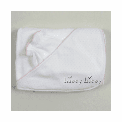 Kissy Kissy Baby Dots softest cotton white towel with pink dots.