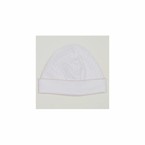 Kissy Kissy Dots Hat. White with Pink Dots.