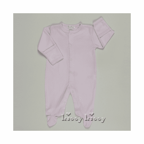 Kissy Kissy Dottie Dots girls infant clothes long sleeve pink with white dots footie.